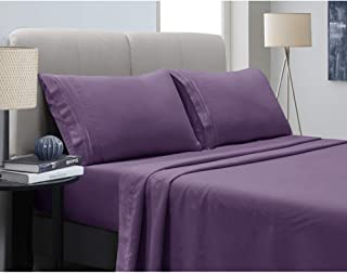 Mejoroom Bed Sheets Set - Soft Microfiber Bed Sheets,14-inch Deep Pockets,Copper ion Element,Wrinkle,Fade,Stain Resistant,Hypoallergenic - 4 Piece(Queen,Purple)