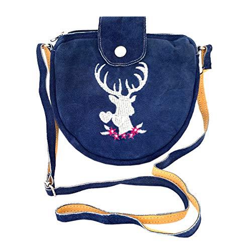 Kleine Blaue Trachtentasche Dirndltasche Umhängetasche mit Trachten-Stickerei Leder