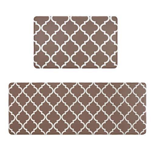 Homcomodar Küchenmatten Läufer Set Braun Teppiche Waschbar Küchenteppiche(44x70cm+44x120cm)