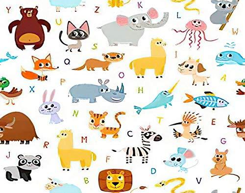 Y·JIANG Pintura ABC por números, lindos dibujos animados, alfabeto de animales, lienzo acrílico, pintura al óleo por números, para adultos y niños, decoración de pared del hogar, 50 x 50 cm