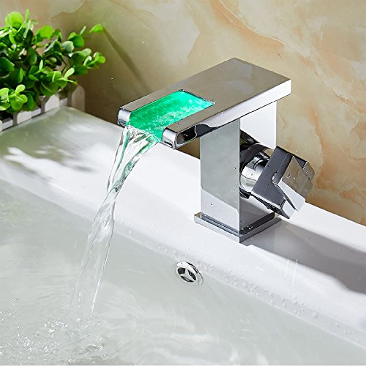 LSRHT Basin Taps Mixer Kitchen Sink Faucet Copper Hot and Cold Washbasin Toilet Waterfalls Led Bathroom accessories