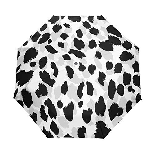 Jeansame Leopard Negro Blanco Lunares Plegable Paraguas Compacto Paraguas Automático Sol Lluvia...