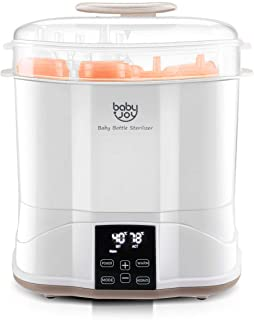 BABY JOY Baby Bottle Electric Steam Sterilizer, 3-in-1 Modular Electric Dryer Machine, Milk Warmer with Large Capacity, Temperature Control, LED Monitor