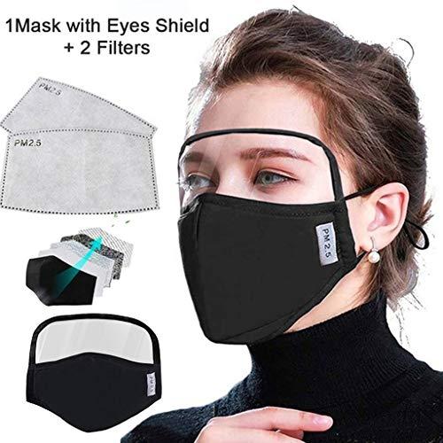 OdeJoy Reitgesichtsabdeckung Mundschutz und Nasenschutz Baumwolle Staubdicht Draussen Gesichtsschutz Gesichtsbedeckung mit Augenschild, für Radfahren im Freien (1PC, Schwarz)