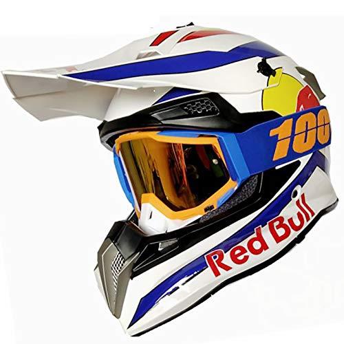 Cascos De Motocross,CertificacióN Dot/ECE Profesional Anti Niebla Protección UV Casco Protector de Color Motocross Clásico Mujer Hombre Guantes de Gafas Red Bull A,L