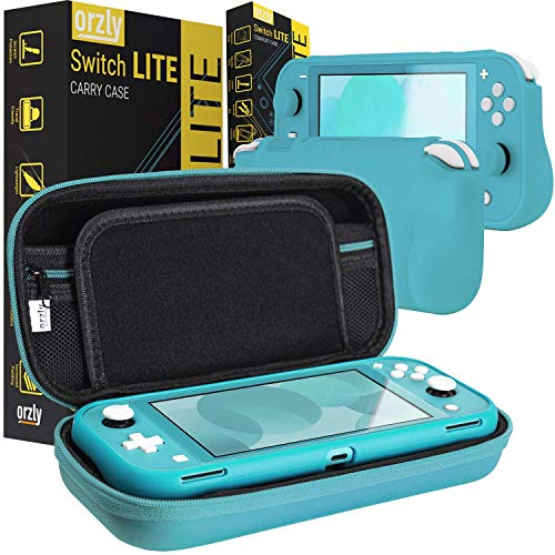 Orzly Carry Case and Comfort Grip in Turquoise for Switch Lite - Bundle