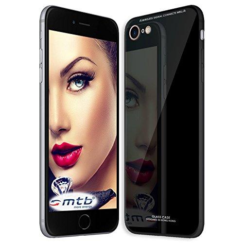 mtb more energy® Schutz-Hülle mit Glas-Rückseite für Apple iPhone SE 2 (2020) / iPhone 8 / iPhone 7 (4.7'') - Schwarz - Tempered Glass TPU Hülle Cover Tasche