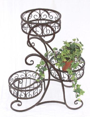 DanDiBo bloementrap metaal bruin rond 65 cm met 3 manden bloemenstandaard 12556 bijzettafel plantenstandaard bloemenzuil