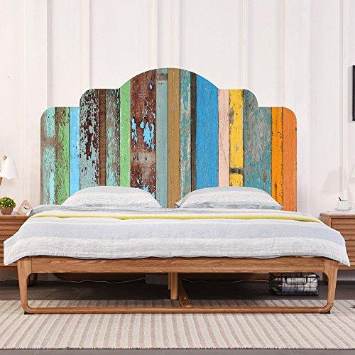 YEARGER Farben Vintage Holzmaserung DIY Wandaufkleber Schlafzimmer Dekor Kopfteil Möbel Bett Aufkleber Einfach Zu Bewerben (Twin)