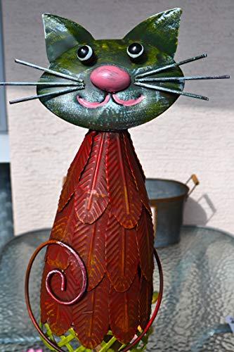 Maison en France Zaunhocker-lustiger großer Zaungucker Katze -Gartenzaungucker -aus Metall- für Haus und Garten, stabile Verarbeitung