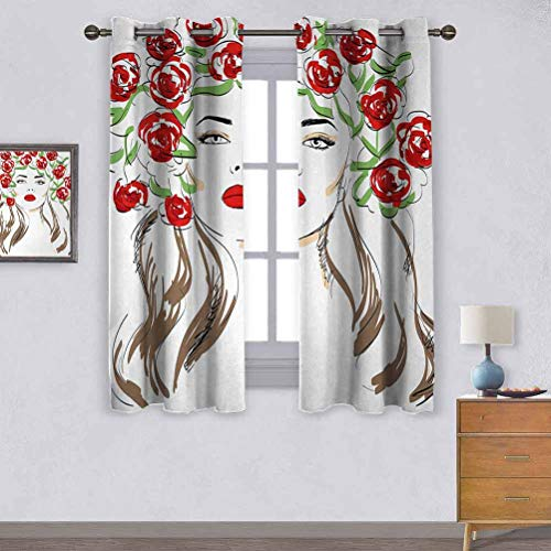 Opehodecor Girls Insulated Curtains Hand Drawn Lady with Roses on Her Hair Floral Ornamentals Natural Artwork Theme Blackout Curtains for Boys Bedroom 72 x 63 inch