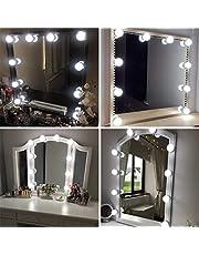 Led-spiegellamp, Hollywood stijl 10 dimbaar make-up licht 6000 K make-up licht, make-up tafel, make-up lamp, spiegel lamp voor make-up spiegel, make-uptafel/badkamer MEERWEG