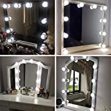 Hollywood Mirror Kit de luz con múltiples tonos de color para maquillaje Dressing Table, enchufe LED Vanity Lighting Strip con adhesivo de calidad para DIY Light Mirror, 10 luces, espejo no incluido