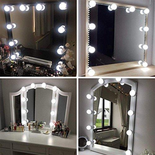 Led Spiegelleuchte, Hollywood Stil 10 Dimmbar Schminklicht 6000K Make Up Licht, Schminktisch Leuchte, Schminkleuchte, Spiegellampe für Kosmetikspiegel, Schminktisch/Badzimmer MEHRWEG