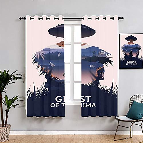 Ghost of Tsushima - Cortinas decorativas para habitación de niños, 55 x 45 cm