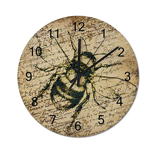 None-brands Reloj de pared con diseño de abeja y espécimen, de madera, silencioso, de 30,48 cm, funciona con pilas, para cocina, hogar, sala de estar, oficina