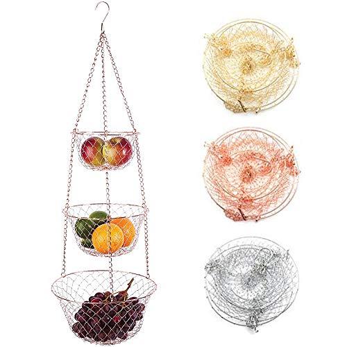 Juego de cestas colgantes cromadas de 3 niveles, cestas colgantes para frutas y verduras con 3 cestas de estantes, cestas de 25, 23 y 17,5 cm (oro/plata/cobre) plata