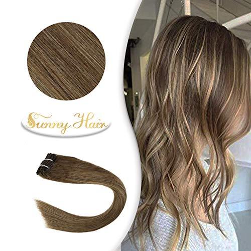 Sunny 40CM Extensions a Clip Naturel Ombre de Cheveux Humains a Clips 7 Pieces 120G 100% Remy Balayage Double Trame Clip en Extension Cheveux #10 Brun Miel et Blonde #16