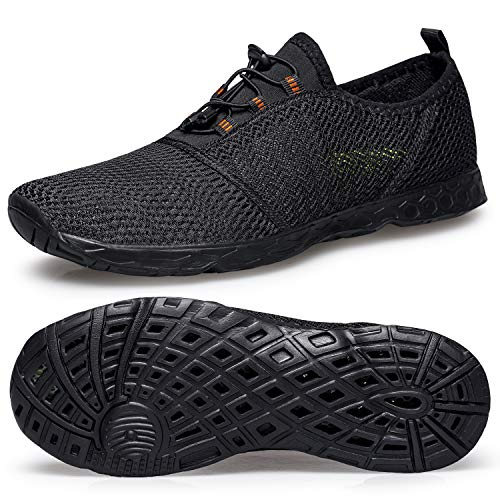 Men's Water Beach Shoes-Quick Dry Mens Water Shoes Size 12 Barefoot Water Tennis Hiking Shoes for Swim Diving Surf Aqua Sports Pool Beach Walking Yoga All Black 46 EU