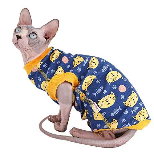 Sphynx Haarlose Katze, süße, atmungsaktive Sommer-Baumwolle, Haustierkleidung, Rundkragen, Weste, Kätzchen, Hemden, ärmellos, Katzen und kleine Hunde Kleidung, M (4.4-5.5 lbs)