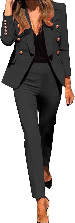 Women's Blazers Suit Fashion Long Sleeve Solid Color Button Pocket Coat + Pants Casual Elegant Business Suit Sets