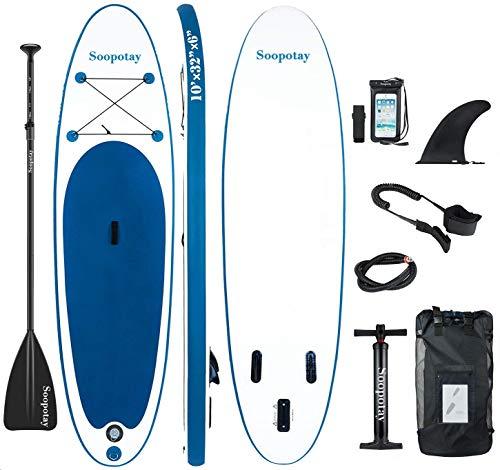 Aufblasbares SUP Stand Up Paddle Board Aufblasbares SUP Board iSUP Paket mit allem Zubehör, All Round-Navy Blue-10' x 32'' x 6''