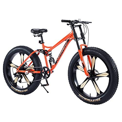 Neffice Fat Tire Mountain Bikes, 26-Inch Wheels, 4-Inch Wide Tires, 7-Speed, High Carbon Steel Frame, Bikes for Men (Orange Five Knife Wheel)