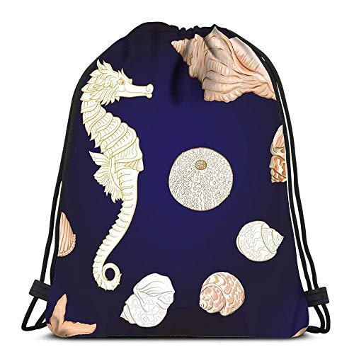 Lsjuee Zaino Borsa con coulisse Sea World Pesce Coralli e conchiglie su strisce bianche blu Sport Travel Yoga Gymsack