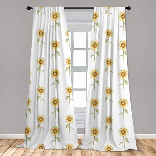 """Lunarable Sunflower Curtains, Hand Drawn Floral Pattern Watercolor Effect Nature Illustration, Window Treatments 2 Panel Set for Living Room Bedroom Decor, 56"""" x 84"""", Green Ginger"""