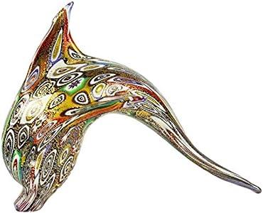 Figura de delfín de Murrine y oro original de cristal de Murano, diseño de animales
