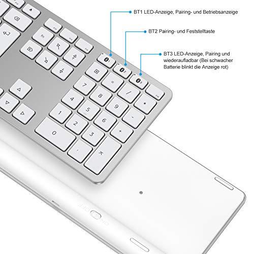OMOTON Bluetooth Tastatur für MacOS(MacBook/MacBook Air/MacBook Pro/iMac/iMac Pro/Mac Pro/Mac Mini), wiederaufladbare kabellose Tastatur, Geschäftsstil. Entwickelt für MacOS. QWERTZ DE-Layout, Silber