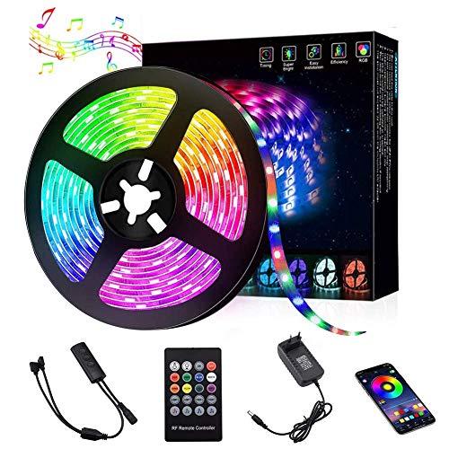 Bluetooth LED Strip 5M, RLBUNZ RGB LED Streifen Lichtband steuerbar via App, 5050SMD 150 Leds Bänder mit Fernbedienung, Sync mit Musik, 12V Selbstklebend LED Band für Schlafzimmer, Party, Haus Deko