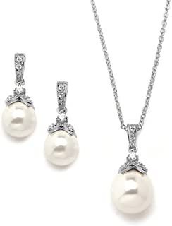 Mariell Vintage Ivory Pearl Wedding Necklace & Earrings Bridal Jewelry Set for Brides and Bridesmaids