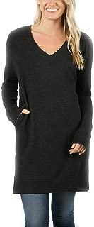 Zenana Long Sleeve V-Neck Brushed Melange Sweater Sweater Fabric