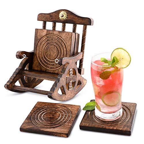 Divit Coasters 6er -Set handgefertigter Getränke-Untersetzer aus Holz: umweltfreundlich, saugfähig, mit antiker Optik | Schaukelstuhl Untersetzer aus Holz