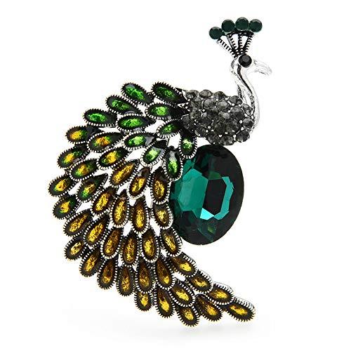 Green Crystal Peacock Broschen Frauen Emaille Big Bird Party Office Lässige Brosche...