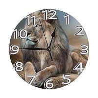 ライオンリラックス 壁掛け時計 置き時計 目覚まし時計 円形 時計 数字 バッテリー 掛け時計 アイデア個性 ファッション インテリア