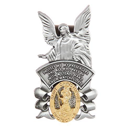 Guardian Angel Visor Clip, St Christopher Visor Clip, Protect US, Religious Holy Visor Clip Gift for Driver, US004 (Guardian Angel and St Christopher)