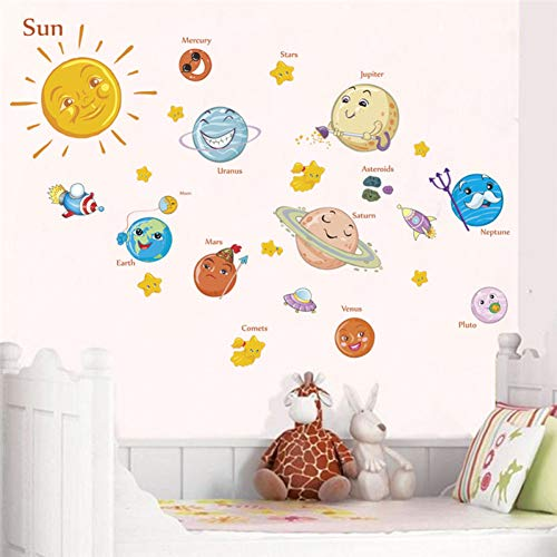 Outer Space Solar System Wall Stickers Planets Earth Sun Saturn Mars Star Wall Decals Living Room Bedroom Mural Art
