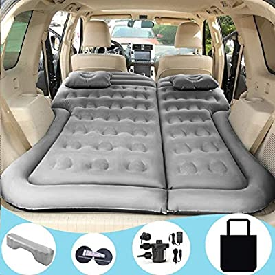SAYGOGO SUV Air Mattress Camping Bed Cushion Pillow - Inflatable Car Air Bed with Electric Air Pump Flocking Surface Portable Sleeping Pad for Travel Camping - Grey