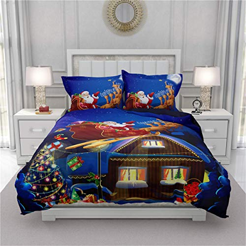 695 UNKEY Bedding Set Double Bed, 3D Effect Complete Set 1 Duvet Cover 2 Pillow Cases Polyester Print Zip Easy Care (King-220x230,Christmas tree)