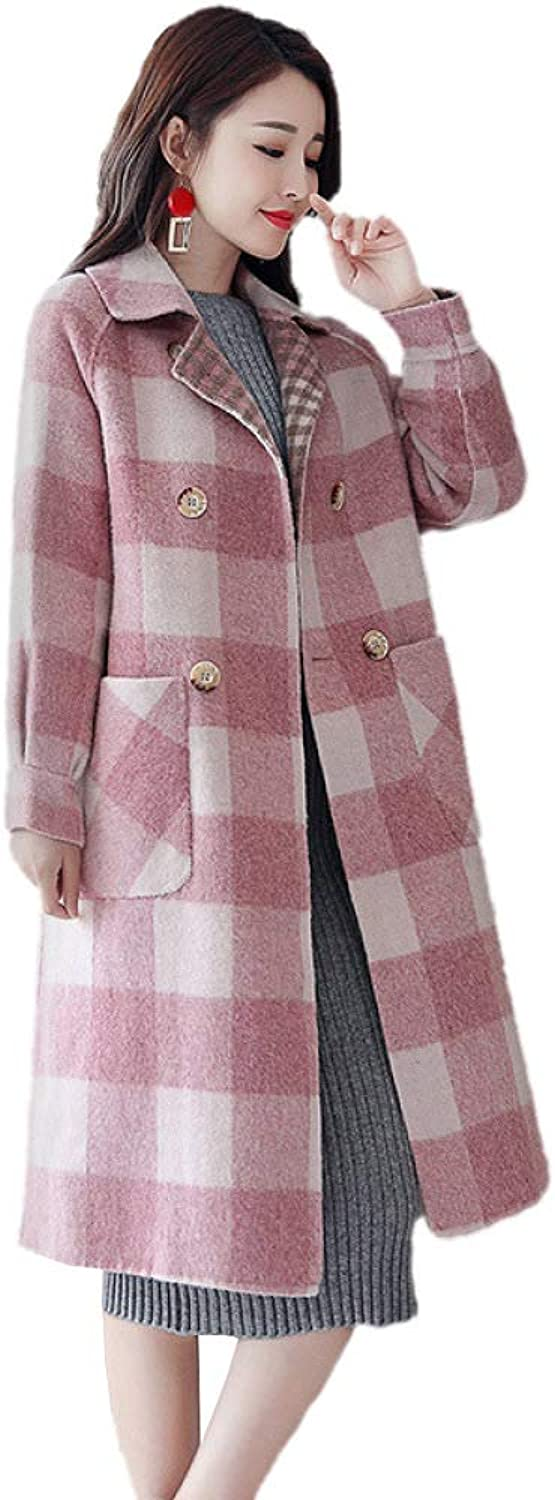 LXIANGP Women's Coat Long Plaid Jacket Loose Thin Wild Over The Knee Windbreaker Spring and Autumn Winter Female 2 color SXXL