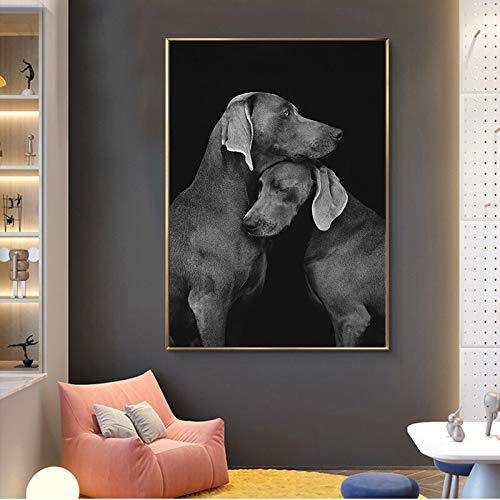 wZUN Es Genial Estar en casa, Mascota, Perro, Animal, Lienzo, Pintura, Arte de Pared Negro, póster, Imagen Impresa, decoración para el hogar 60x80 Sin Marco