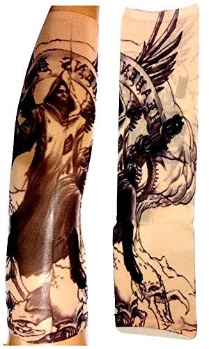 KIRALOVE Manga del Tatuaje - Manga - Tatuaje Falso - ángel - Muerte - Esqueleto - cráneo - alas - Ametralladora - Escritura - Tatuaje - Media Manga - Tribal - Idea de Regalo Original - w73