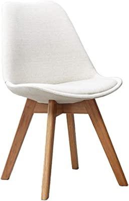 Chair - Dining Chairs with Linen Fabric Upholstered Seat and Oak Wooden Legs Colour: Beige, Material: Linen Fabric (Color : White)