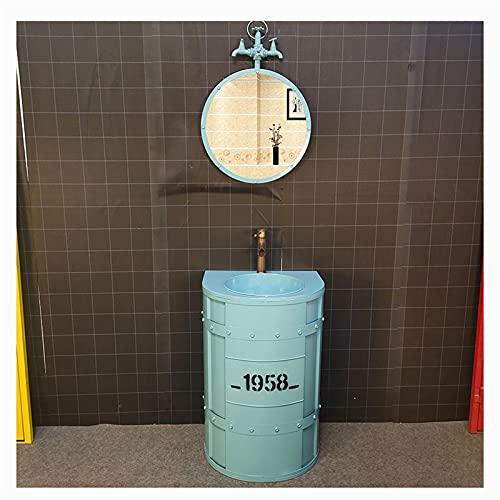 Muebles De Bano Con Lavabo Los 45 * 55 * 85cm Decoración De Metal Retro De Estilo Industrial Con Grifo De Espejo Lavabo Pequeno ,Impermeable Y A Prueba De Herrumbre Lavabo De Pie Bano(Color:azul)