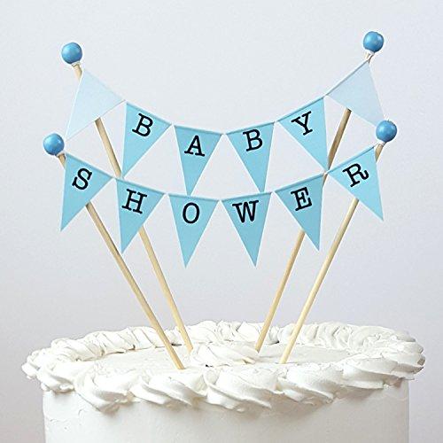 amazing buntings, Baby Shower, decoración para tartas, banderines en color azul pastel, totalmente montado, 189
