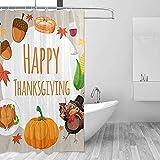 Thanksgiving Kürbis Truthahn Mais Duschvorhang Set für Home Polyester wasserdichtes Gewebe Badezimmer mit Haken 36x72 inch