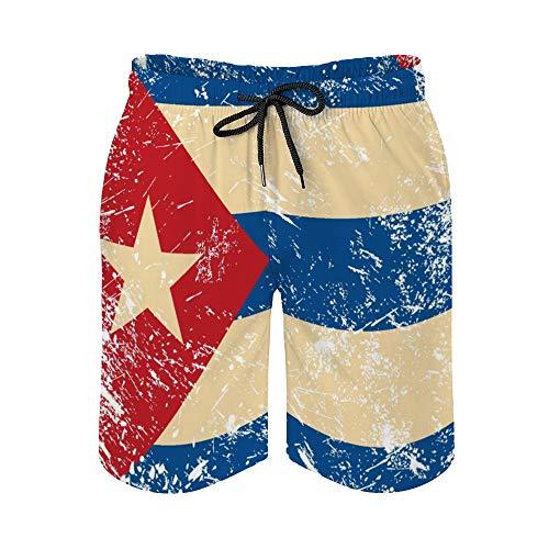 MayBlosom - Costume da bagno da uomo, stile casual, hawaiano, con motivo bandiera di Cuba, con elastico bianco-Style1 XXL