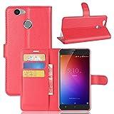 Owbb Hülle für Blackview E7 Ultra Schlanke Handyhülle Premium PU Ledertasche Flip Cover Wallet Case mit Stand Function Innenschlitzen Design Rot